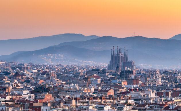 Spanien Barcelona Sonnenaufgang