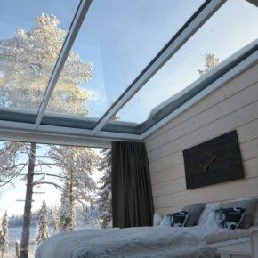 Iisakki Glass Village Bett Ausblick