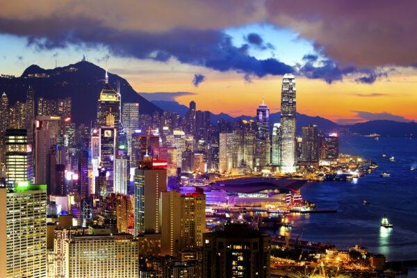 China Hongkong Sonnenuntergang