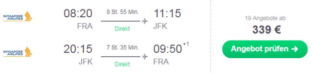 Flug Frankfurt New York