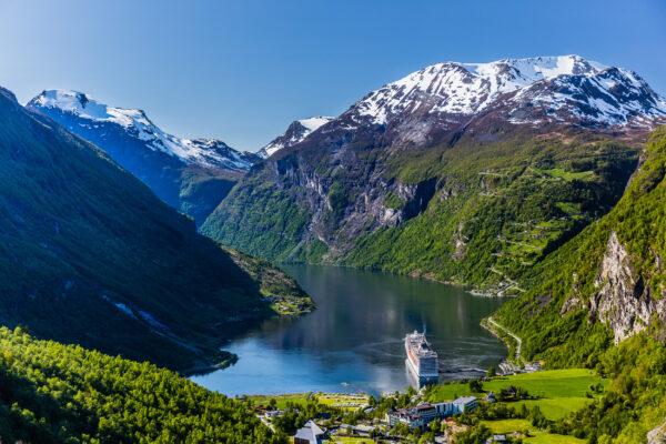 Norwegen Geirangerfjord Schiff