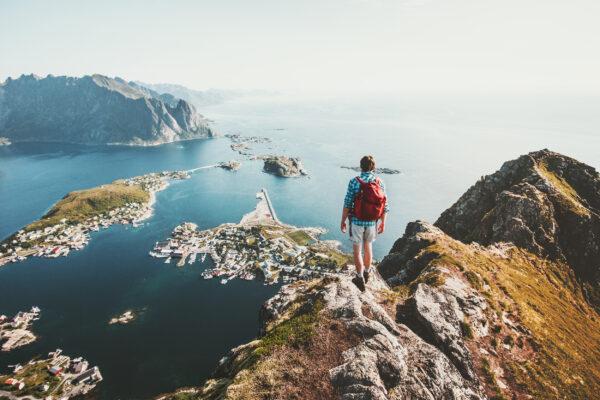 Norwegen Lofoten Mensch