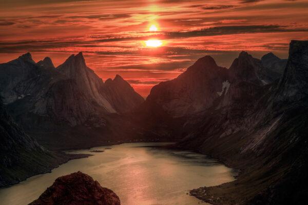 Norwegen Lofoten Mitetrnachtssonne