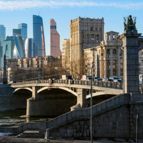 Russland Moskau Downtown Borodinsky Brücke
