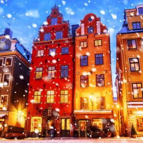 Schweden Stockholm Stortoget Schnee