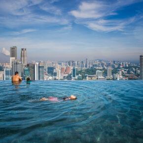 Singapur Marina Bay Pool Nacht