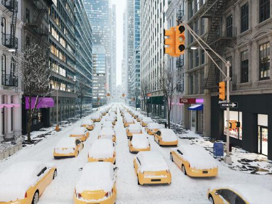 USA New York verschneite Taxis
