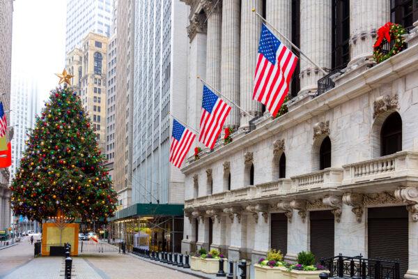 USA New York Central Winter Flaggen Baum