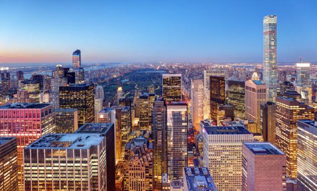 USA New York Central Winter Lichter