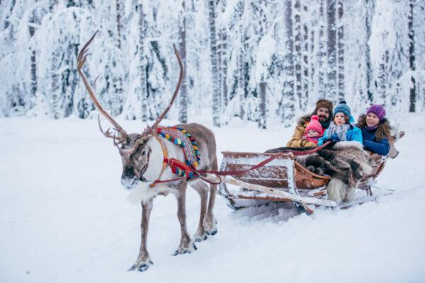 Weihnachtsmanndorf Lappland Rentier Schlitten
