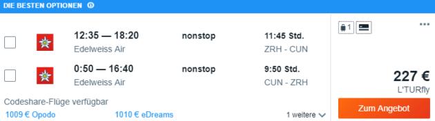 Zürich nach Cancun