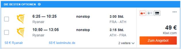 Flug Frankfurt Athen