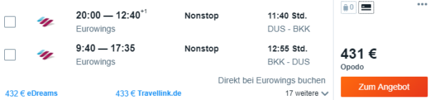 Düsseldorf nach Bangkok
