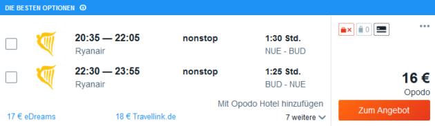 Flug Nürnberg Budapest