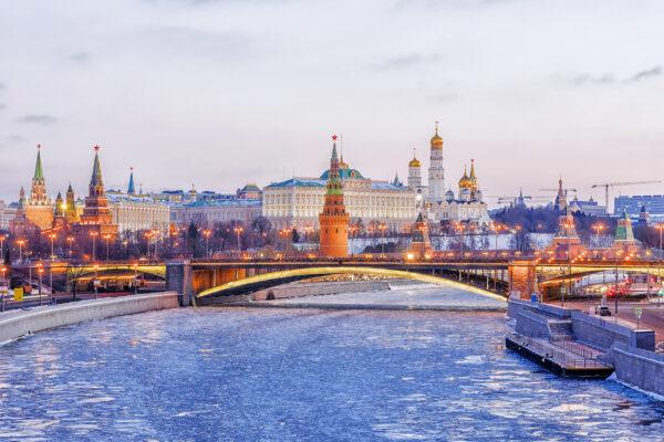 Russland Moskau Winter Brücke
