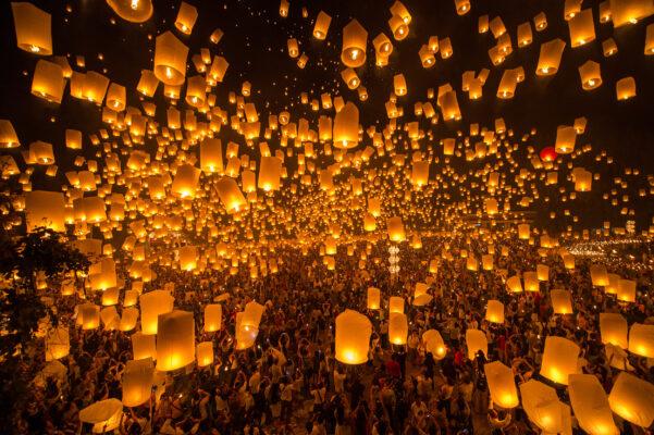 Thailand Chian Mai Loy Krathong Lampen