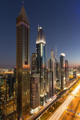 VAE Dubai Downtown Nachtlicht