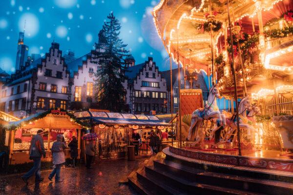 Frankfurt Weihnachtsmarkt Karussell Haeuser