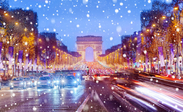 Frankreich Paris Winter Champs Elysees Schnee