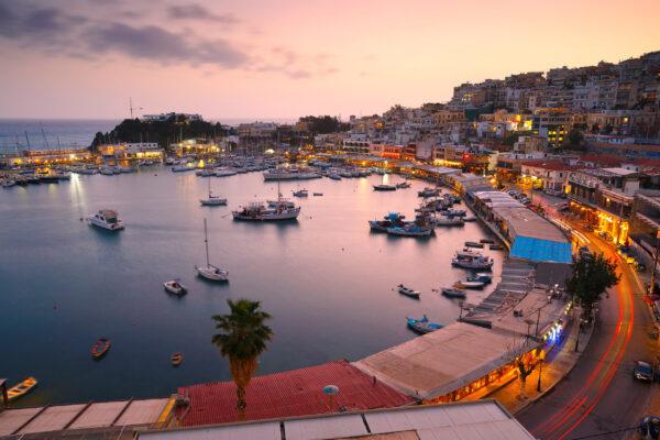Griechenland Athen Bucht Sonnenuntergang