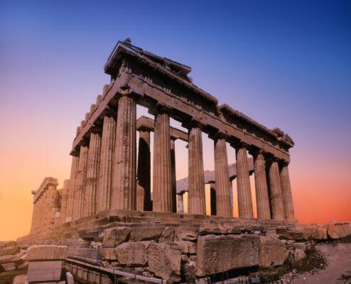 Griechenland Athen Pantheon Sonnenuntergang