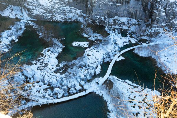 Kroatien Plitvice Winter Seen