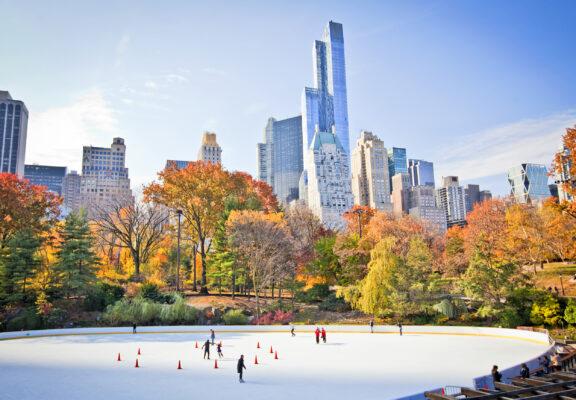 New York Winter Schnee Eislaufen