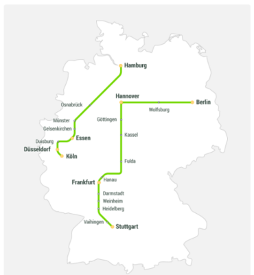 FlixTrain Streckennetz
