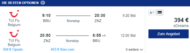 Flug Brüssel Sansibar