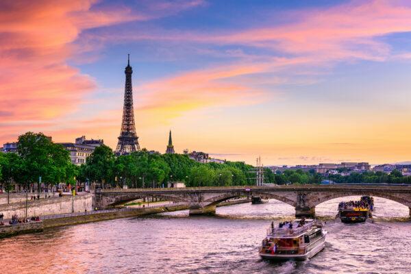 Frankreich Paris Eiffelturm Sonnenuntergang