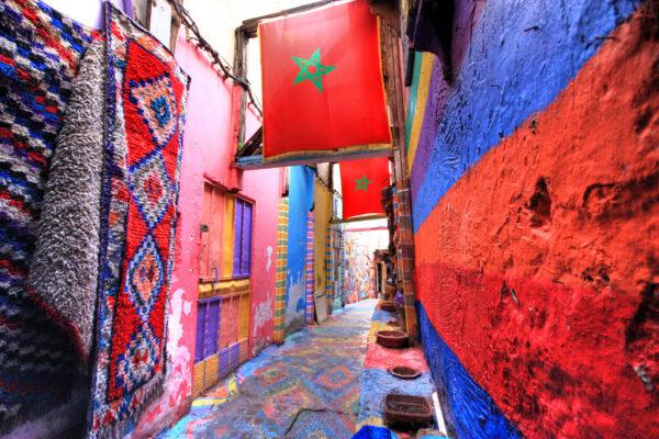 Marokko Fes Waende bunt