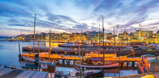 Norwegen Oslo Hafen gold