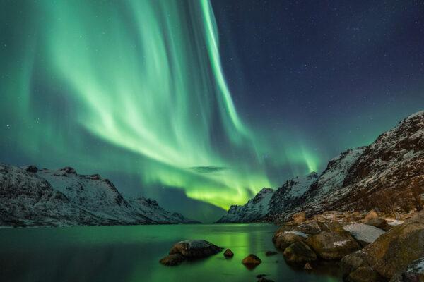Norwegen Polarlichter See