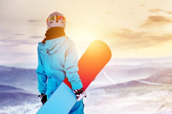 Skifahren Snowboarderin