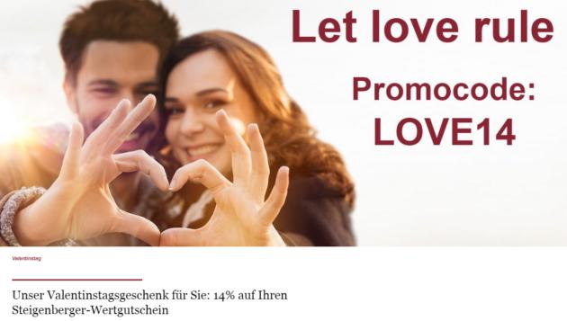 Steigenberger Valentinstag Gutscheinaktion