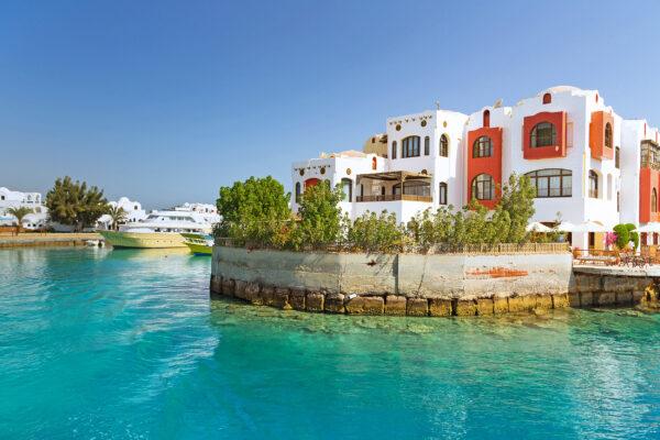 Ägypten Hurghada Haeuser Meer