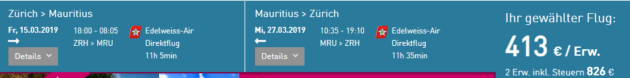 Flug Zürich Mauritius