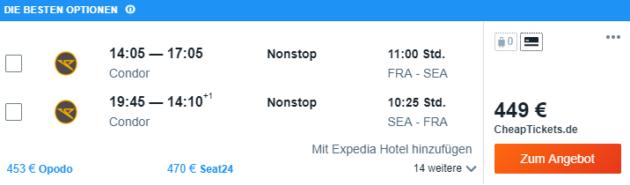 Frankfurt nach Seattle