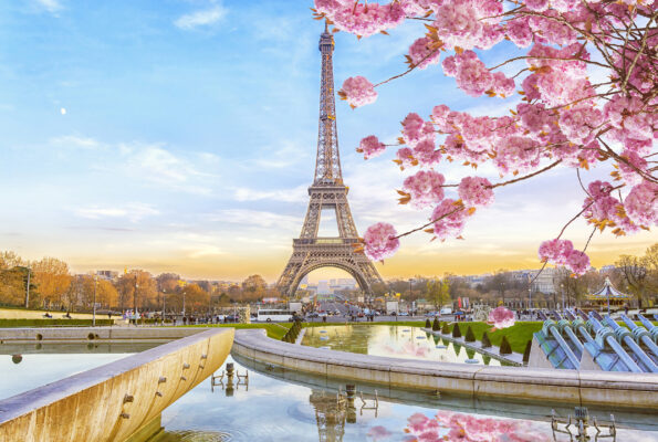 Frankreich Paris Frühling Sonnenaufgang