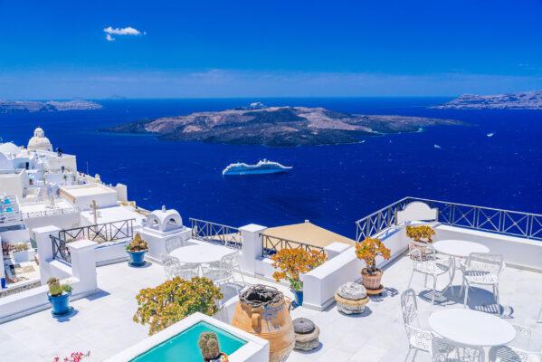 Griechenland Santorini Fira Balkone