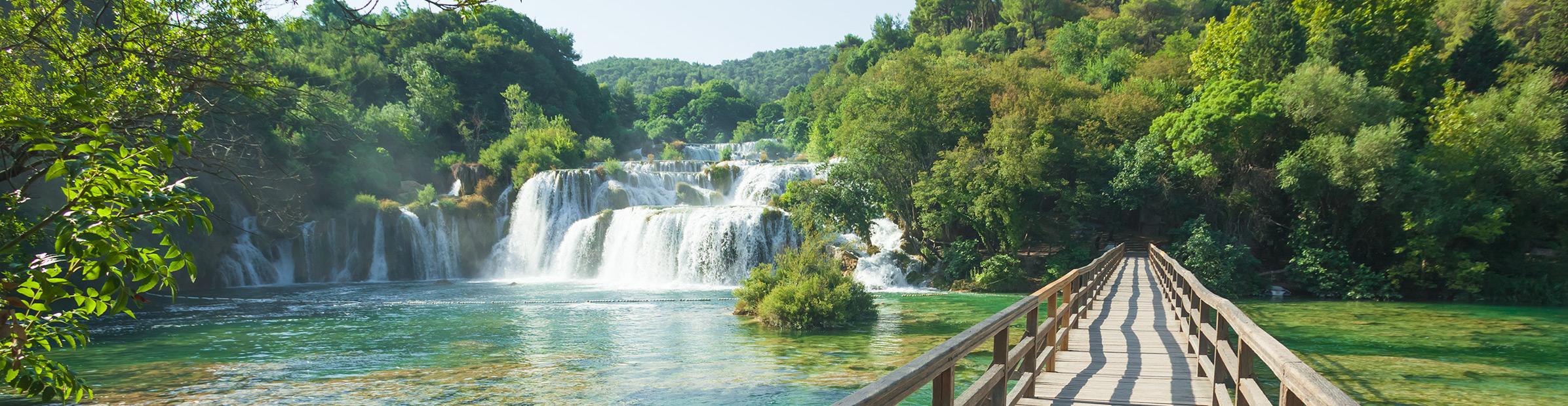 Kroatien Krka Wasserfall Steg Panorama