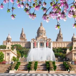 Spanien Barcelona Frühling Spanischer Platz