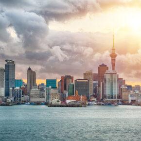 Neuseeland Auckland Skyline Sonne