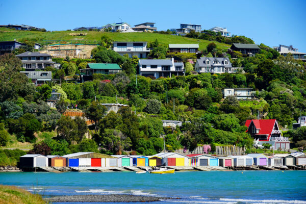 Neuseeland Christchurch Akaroa Häuser