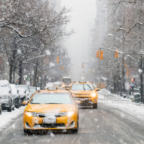 USA New York Taxi Schnee