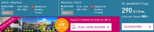 Zürich nach Mauriitus