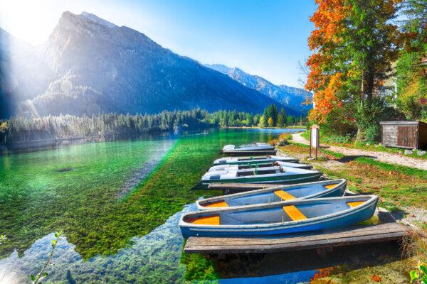 Bayern Hintersee Landschaft Boote