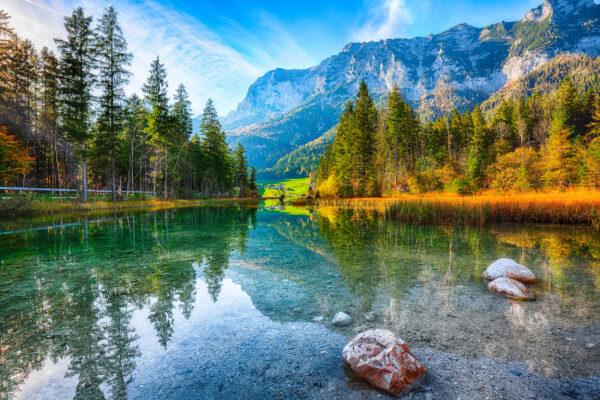 Bayern Hintersee Landschaft Steine