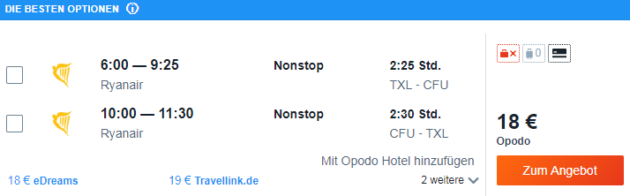 Flug Berlin Korfu