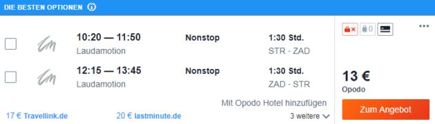 Flug Stuttgart Zadar